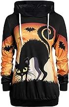 ✿ Spring Color ✿Women's Halloween Scary Cat Print Long Sleeve Hoodie Shirt String Tunics Sweatshirt Tops Pullover