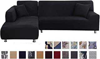 TOPCHANCES L Shaped Couch Covers,2-Pieces 3 Seat Sectional Couch Covers Strectch Polyester Fabric L-Type Sofa Slipcovers Furniture Protector with 2pcs Pillowcases (Solid Black)