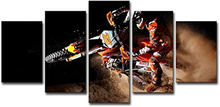 SHOMPE Framed Dirt Bike Canvas Poster Wall Art 5 Panels Motorcycle Paintings HD Prints X-Game Sports Motor Pictures Artwork for Living Room Modern Home Decorations