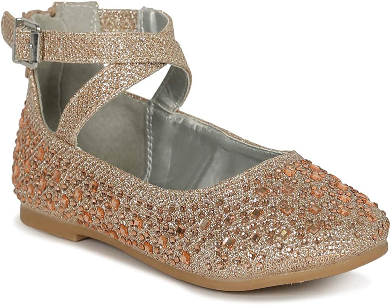 Little/Big Girls Glitter Round Toe Classic Criss Cross Strap Mary Jane Flat SG41 - Rose Gold (Size: 1 Little Kid)