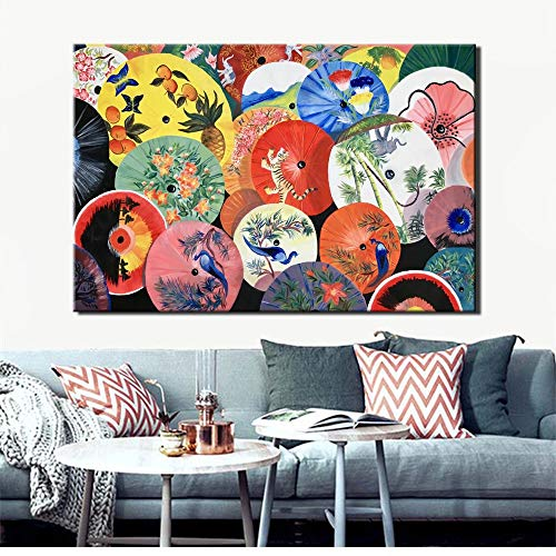 YuanMinglu Moderne Regenschirm Leinwand Wandkunst Poster und Drucke auf Leinwand Asiatische Wohnzimmer Wand Wohnkultur rahmenlose Malerei 40x60cm