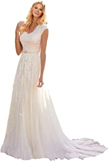 0805bb13be536 MILANO BRIDE Grace Princess V-Neck Floral Lace Wedding Dress for Bride Cheap