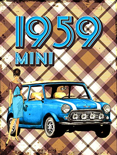 Rutabaga-cie Mini 1959 - Cuadro de madera (30 x 40 cm), diseño de coche antiguo