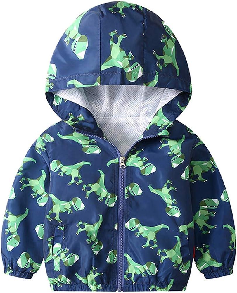 KISBINI Boy's Cartoon Lightweight Wind Zip Hooded Jackets Windbreakers Cute Dust Coats 2T-7T