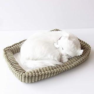 パーフェクトペット スヤスヤ息をしてるようにお腹が動くぬいぐるみ 白猫 長毛 小...