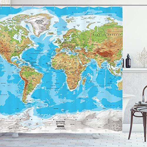 KYKU Duschvorhang mit Weltkarten-Motiv, blau, 3D-Druck, Erdgeographie, Länder, Hauptstädte, Stoff, Polyester, 183 x 183 cm (B x L), Landkarte