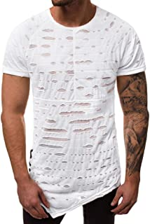 qianqianq Mens Round-Neck Short-Sleeve Fashion Hollow-Out Solid Pullover T-Shirt
