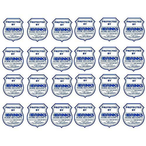 BRINKS Home Security Window Warning Sticker Signs 24 Lot - 3.5 x 3.75 Brand Waterproof Indoor/Outdoor Window Decals U/V Protected. Home and Business use