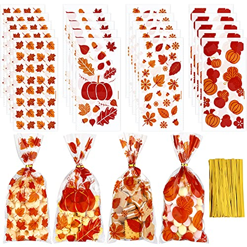 100 Pieces Fall Cellophane Bags Maple Leaves Pumpkin Cello Bag 4 Styles Goodie Treat Bags with 100 Golden Twist Tie, Plastic Pumpkin Candy Bag for Thanksgiving Autumn Party Supplies, 5.1 x 10.6 Inch