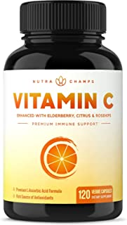 Sponsored Ad - Vitamin C 1000mg with Elderberry, Citrus Bioflavonoids & Rose Hips - 120 Capsules Vegan, Non-GMO Antioxidan...