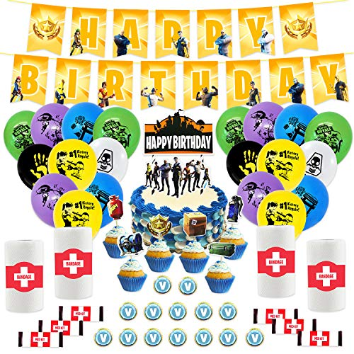 for_tnite party supplies for Boys Birthday Party cake topper Banner Balloons Sticker 80pcs