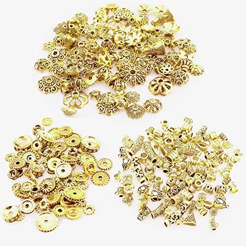 CAILI 150g 3 Stile Tibetische Perlen Zwischenperlen Metall Metallperlen Perlenkappen Perlen für Armbänder zum Basteln Bastelperlen Set mit Loch zum Auffädeln Schmuckzubehör,Antikes Goldene