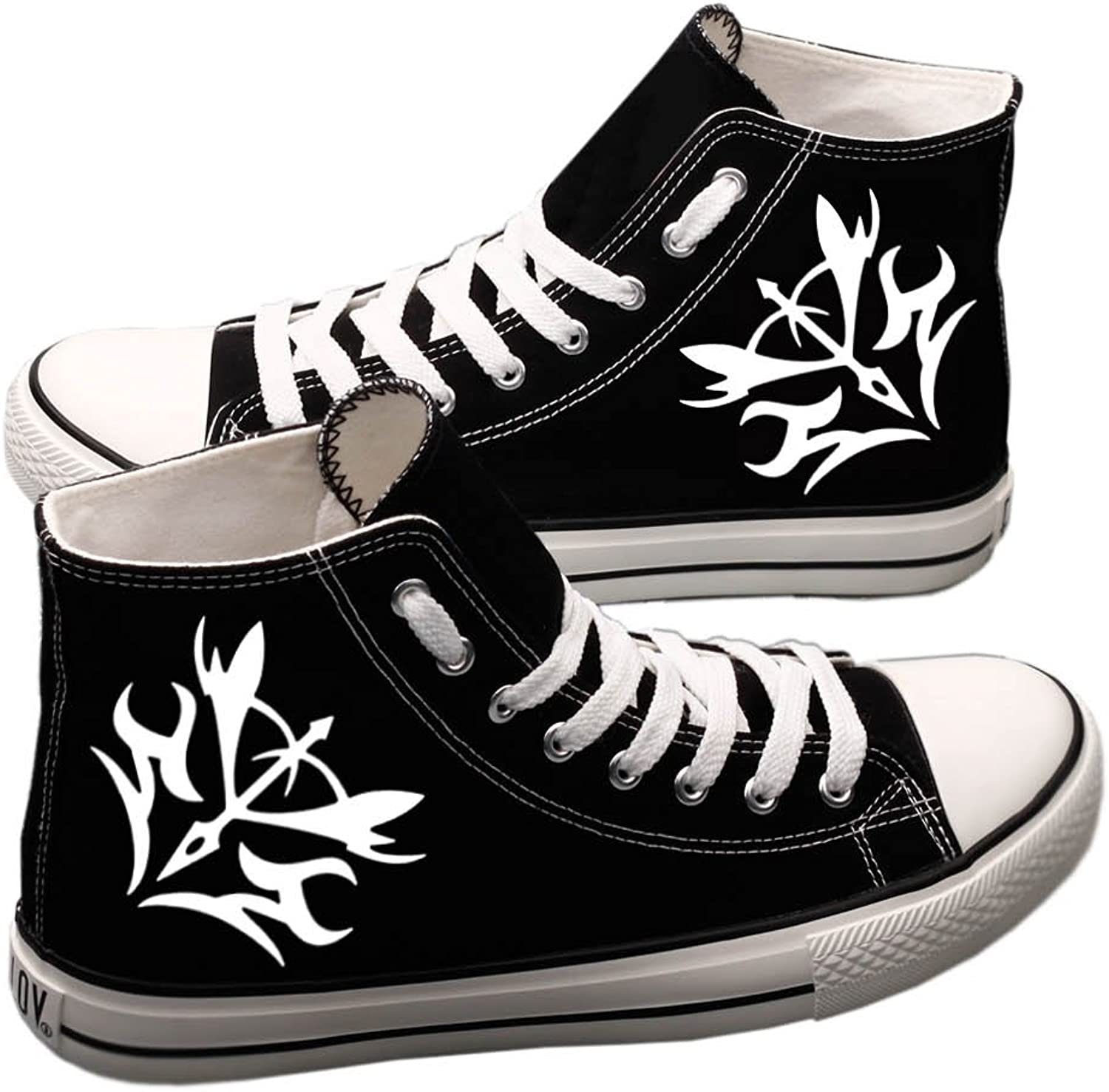 E_LOV Fate Zero Anime Logo Hand-Painted Canvas shoes High Top Sneakers Cosplay shoes for Women Black