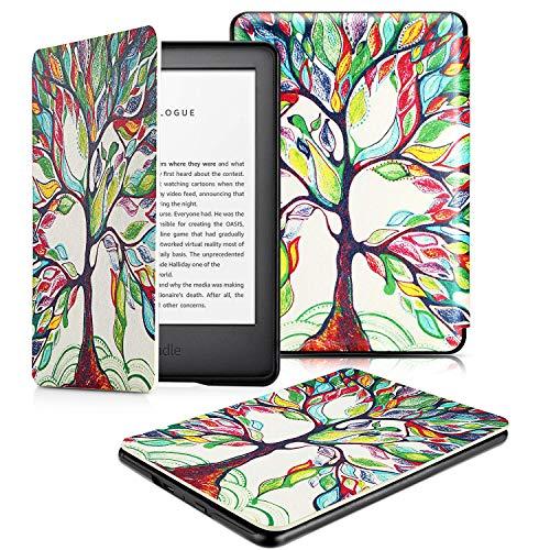 OMOTON Kindle hülle für der Neue Kindle (10.Generation–2019), Schlanke und leicht, PU-Leder Hülle, mit Auto Sleep/Wake Funktion, Liebebaum
