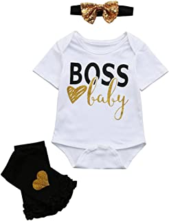Kehen Baby Girls Boss Baby Short Sleeve Bodysuit and Socks Outfit with Headband 3pcs Summer Outfits