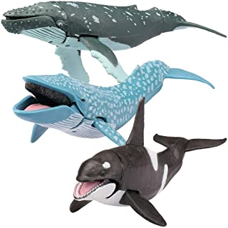 "Kid Galaxy 20276 9"" posable Seanimal - Whale - Killer Whale, Humpback, Blue, Grey, White"