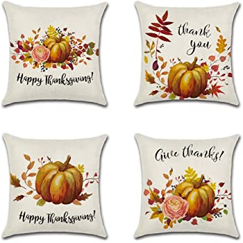 E-Livingstyle Thanksgiving Decorative Throw Pillow Covers Cotton Linen Sofa Cushion Covers Autumn Pumpkin and Leaf Pillow Cases Decor for Home 18/×18Inch 3