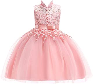Children Kid Girl Dresses Tutu Sleeveless Lace Flower Print Princess Pageant Prom Ball Gown 3-7 Years