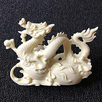 LILOVE Ivory Fruit Carving Chinese Dragon Statue Sculpture Decoration 14 10 5cm