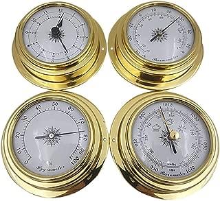 4PCS Barometer Thermometer Hygrometer Barometer Clock Copper Shell Zirconium Marine for Weather Station 98mm