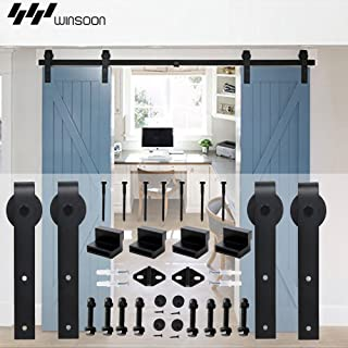 WINSOON 5-18FT Sliding Barn Wood Door Hardware Cabinet Closet Kit Antique Style for Double Doors Black Surface (5FT /60
