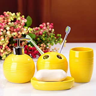 Amazon Com Yellow Bathroom Accessory Sets Bathroom Accessories