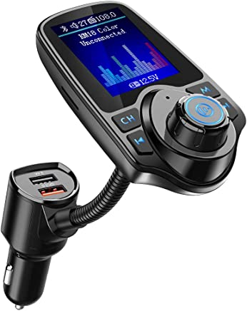 Nulaxy KM18 [Upgraded Version] Bluetooth FM Transmitter for Car, 1.8