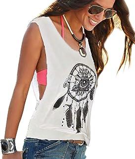 Women's Loose Tank Top Sleeveless Round-Neck Shirt Wide Shirt Tops Knit Women Beautiful Unusual Cool T Shirts Feather Print Women's Tops Summer