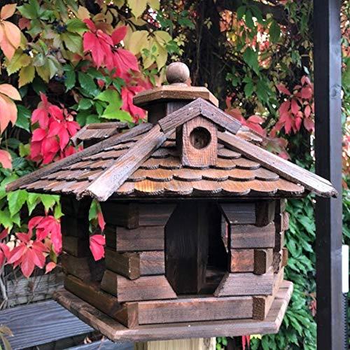 Darlux Vogel Futter Haus L Futterstelle Sechseck aus Holz Vogelhaus Dunkelbraun
