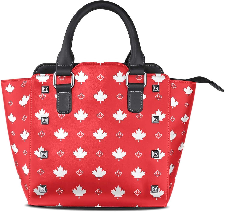 My Little Nest Women's Top Handle Satchel Handbag Floral Maple Leaves Pattern Ladies PU Leather Shoulder Bag Crossbody Bag