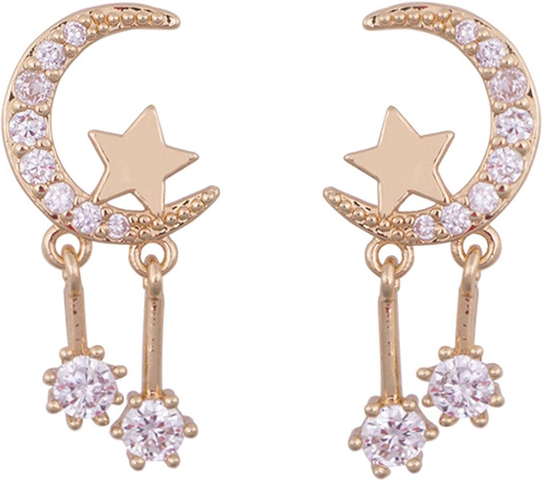 Moon and Star Clip on Earrings Rhinestone CZ Drop Dangling no Pierced Earring for Women Trendy Jewelry for Teen Girls Prom