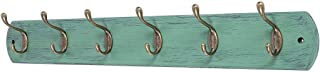 DOKEHOM 6-Antique Brass Hooks -(Available 4 and 6 Hooks)- on Natural Pine Wooden Coat Rack Hanger, Mail Box Packing (Mediterranean Blue)
