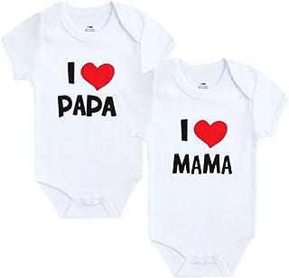 Unbekannt 2er Pack Baby Body weiß I Mama & I Papa Größe 0-3/3-6/6-9/9-12 Monate zur Auswahl