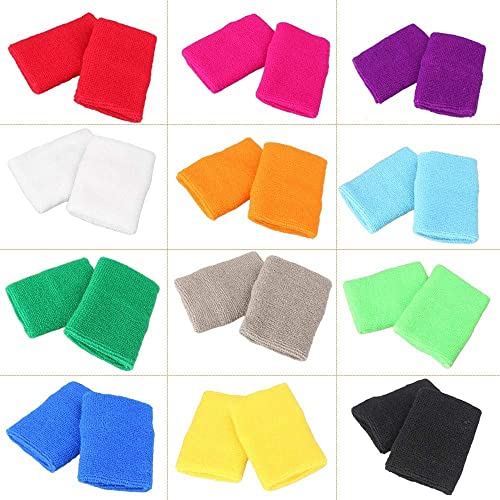 discount Mallofusa online sale 12 Pairs Colorful Wrist Sweatbands Athletic Cotton high quality Terry Cloth Wristbands for Gym Sports online sale