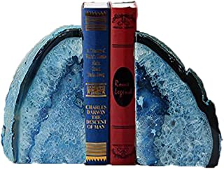 JIC Gem 3 to 4 Lbs Agate Bookends Dyed Blue Polished 1 Pair with Rubber Bumpers for..