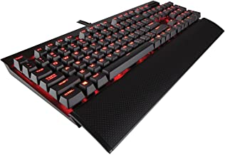 CORSAIR K70 LUX Mechanical Gaming Keyboard - Backlit Red LED - USB Passthrough & Media Controls - Tactile & Clicky - Cherry MX Blue (Renewed)