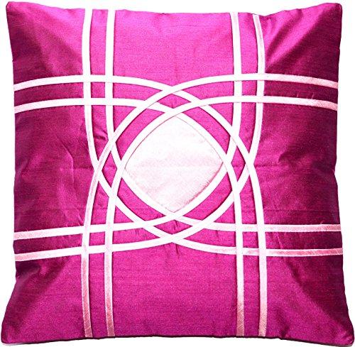 Ruwado Magenta mit Rosa Muster Dupion Seide Kissenbezug | Zierkissenbezug | Sofakissenbezug | Dekokissen | Zierkissen aus Indien - 40 cm x 40 cm