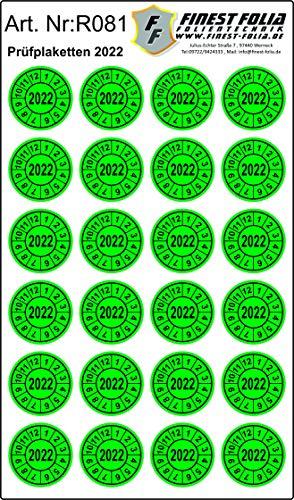 24 Stück Prüfplakette Prüfsiegel Ø20mm Aufkleber Jahresplakette UVV BGV D27 BGR (Jahr 2022)