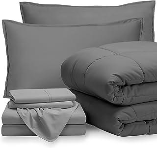 Bare Home Bedding Set 7 Piece Comforter & Sheet Set - Queen - Goose Down Alternative - Ultra-Soft 1800 Premium Bed Set (Qu...