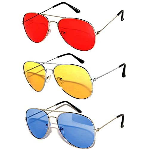 bd9c9fe18a13e 3 Pack Aviator Sunglasses UV Protection Color Lens Metal Frame Unisex