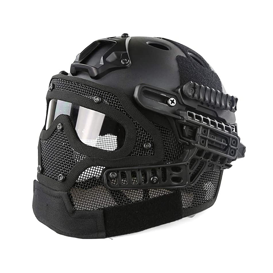 TKTTBD Airsoft Helmet, Fast Helmet, Tactical Helmet, PJ Type Fast Tactical Helmet Combined with Full Mask and Goggles for Airsoft Paintball CS and Other Outdoor Activities Free Size