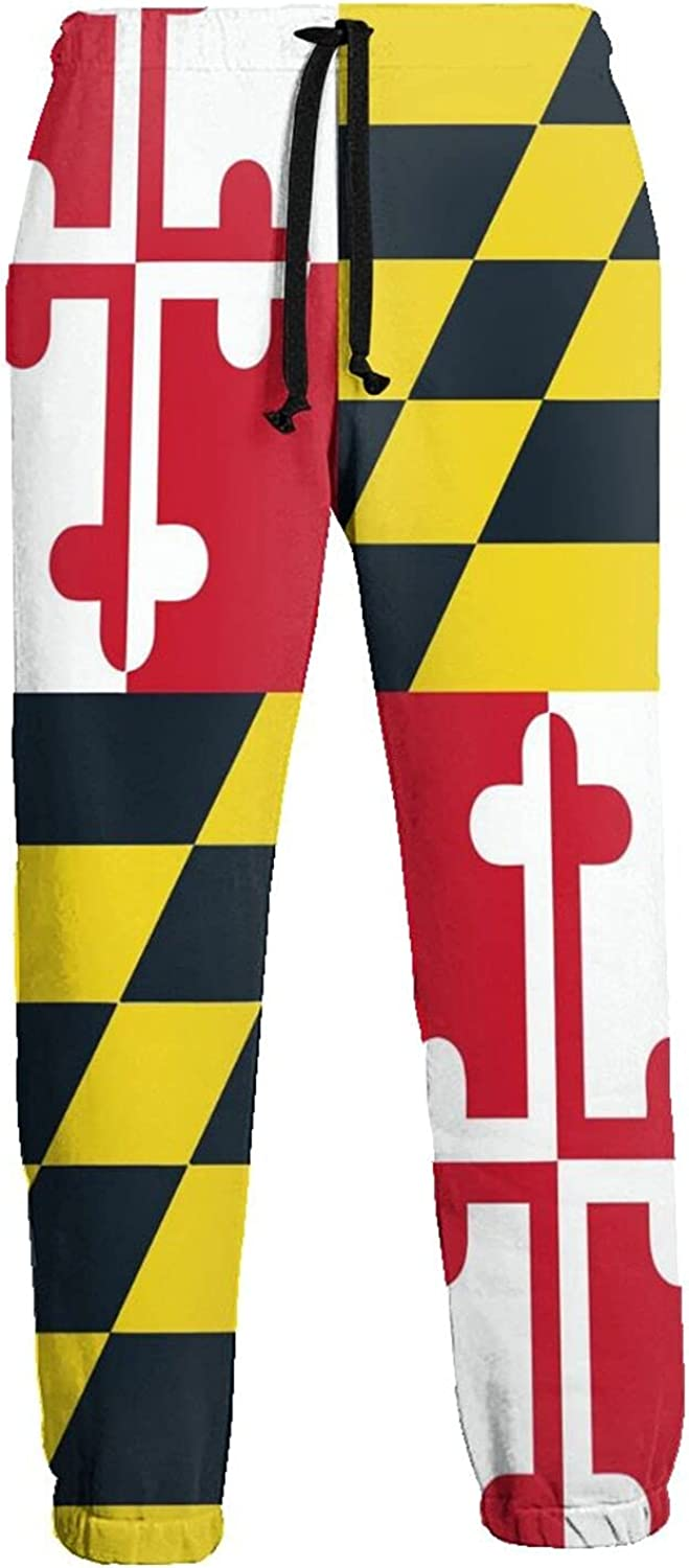 Mens Jogger Sweatpants Maryland Flag Lightweight Workout Athletic Joggers Pants Trousers