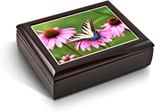 A Gentle Tiger Swallowtail Butterfly and Gerbera Daisies Tile Musical Jewelry Box - Over 400 Song Choices - Piano Sonata in Minor Op 90 (Beethoven)