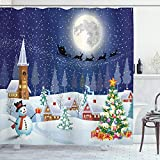 Ambesonne Christmas Shower Curtain, Cloth Fabric Bathroom Decor Set with Hooks, Tree Boxes Snow, 70' Long
