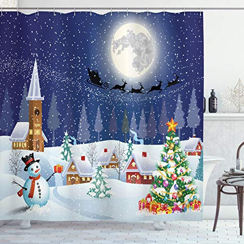 Christmas Shower Curtain Set: Digital Printed Polyester Fabric Santa and Snowman Bathroom Accessories