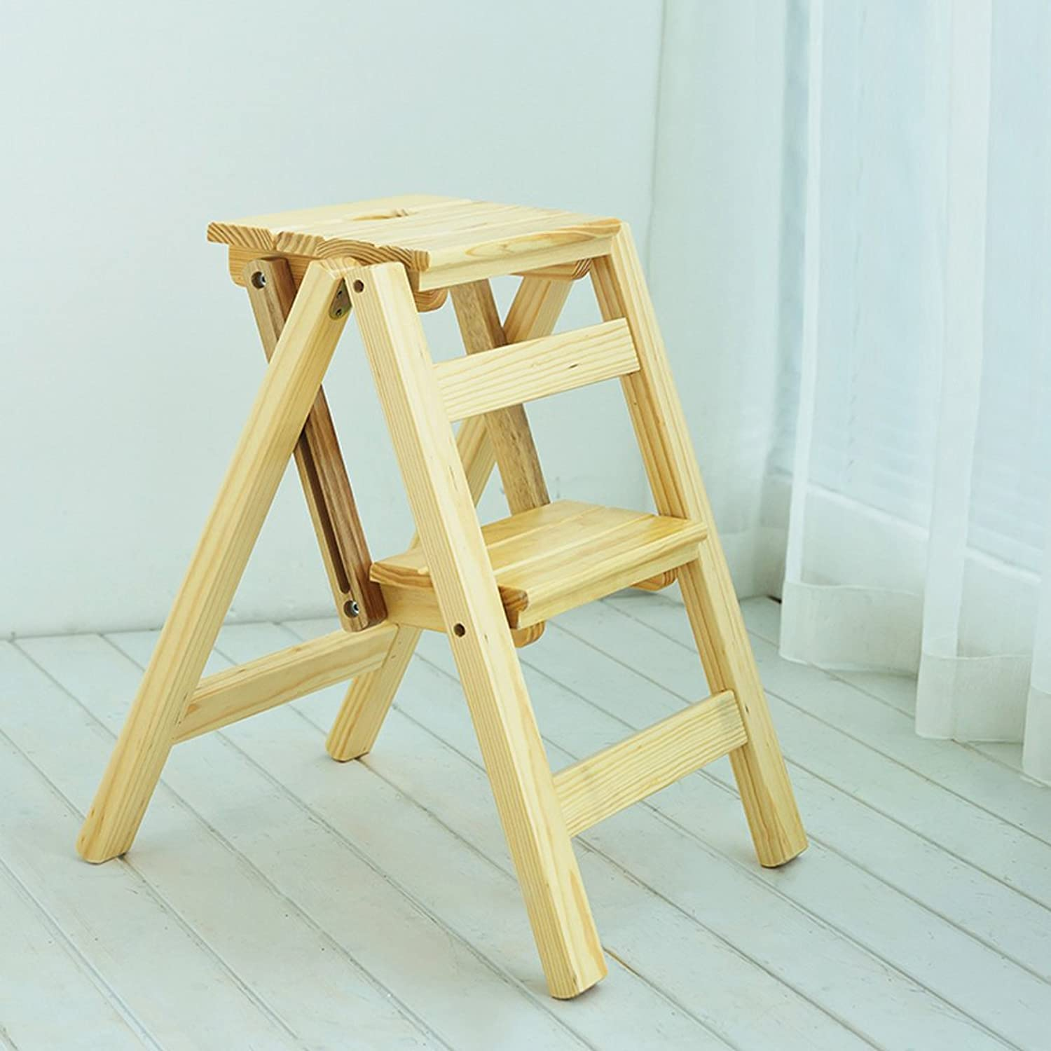 2 3 Layers of Solid Wood Folding Ladder Home Kitchen Indoor Ascends Ladder Double Stair Chair Furniture (color   Natural Wood color, Size   2 Layer)
