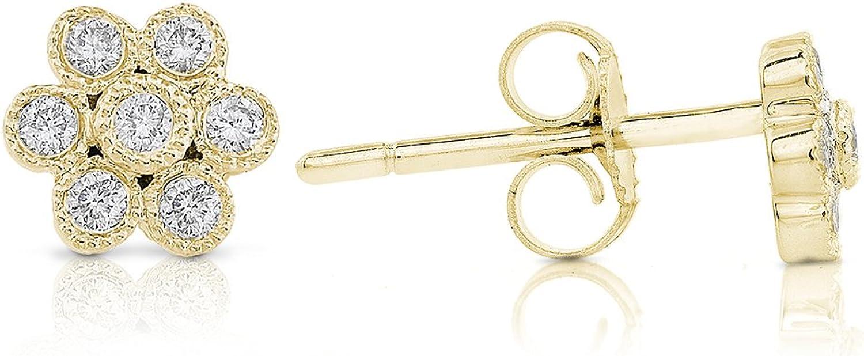 Diamond Floral Stud Earrings 1 6 Carat (ctw) in 14k gold