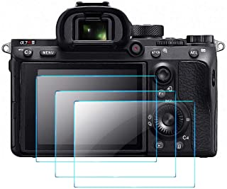 Screen Protector Compatible with Sony Alpha a7RIII a7RIV A7R3 A9 A7RII A7SII A77II RX100 Camera, QIBOX Tempered Glass Scre...
