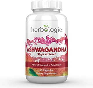 Herbologie 100% Pure Ashwagandha Root Extract Capsules - 1000 mg Serving, Natural Adrenal Support for Stress & Cortisol Ma...