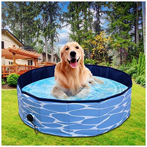 LY1 Piscina para Perros, Bañera Mascotas para Piscina, Plegable Bañera Mascotas para Piscina con PVC Antideslizante para Perros/Gatos/Niños para Interiores/Exteriores,L(80 * 20CM)